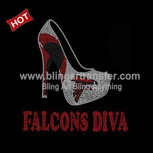 a46a565f Custom T Shirt Transfer Atlanta Falcons Rhinestone High Heel Shoe ...