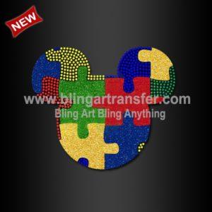 68e5c4094395 Autism Awareness hot fix Rhinestone Motif Transfer design for shirt